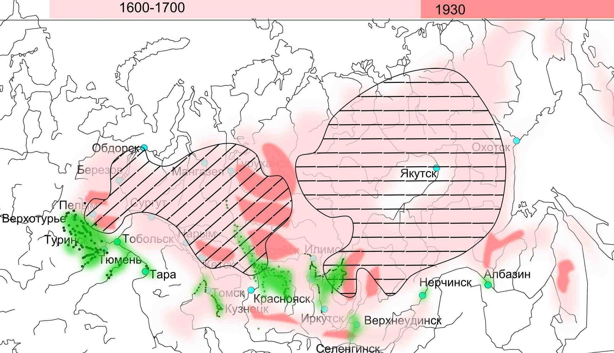 <i>Районы пушного промысла в XVII-XVIII веках и после 1930 года.Рисунок Ивана Соколовского</i>