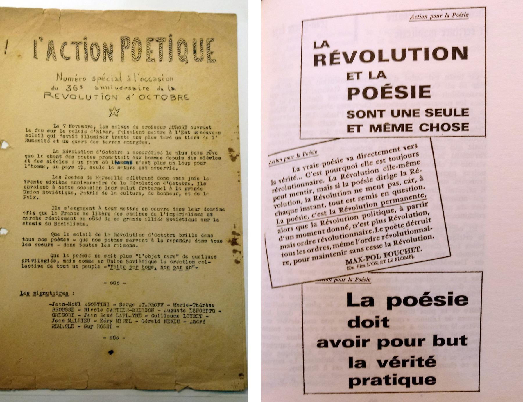 Страницы выпусков Action poétique 1957 и 1953 годов соответственно