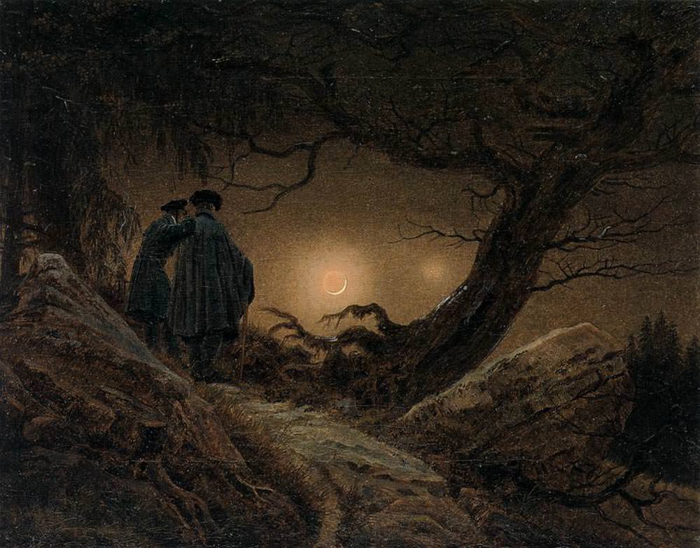 """Двое мужчин, созерцающие луну"""