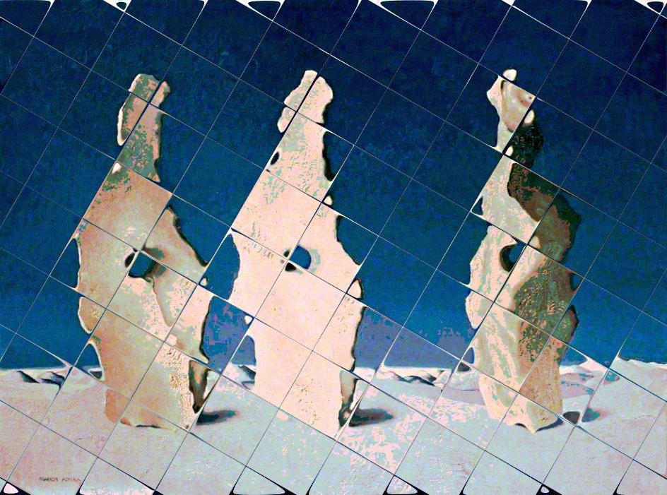 Иллюстрация редакторки на основе картины Марион Адамс «Три камня»