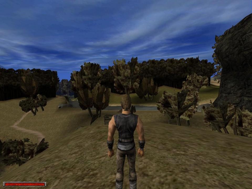 Gothic (2001): впереди лесные массивы, представленные сплошной стеной с единой текстурой