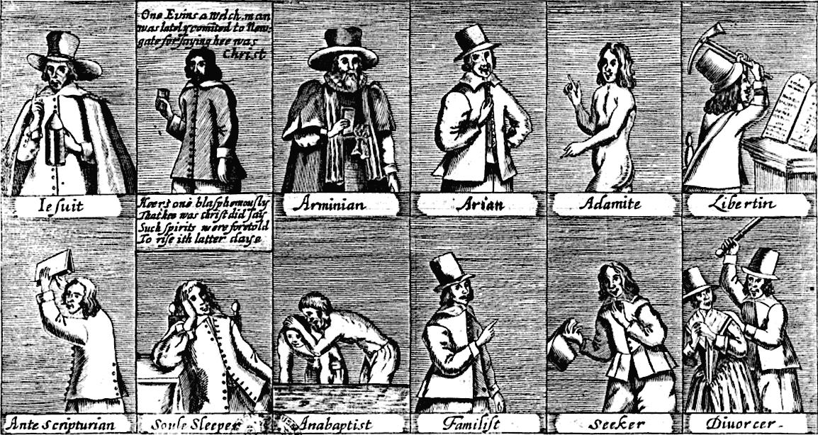 """Каталог сект времён Английской буржуазной революции, 1647 г. Изображены: Иезуиты, """"Уэльские богохульники"""", Арминиане, Ари"""
