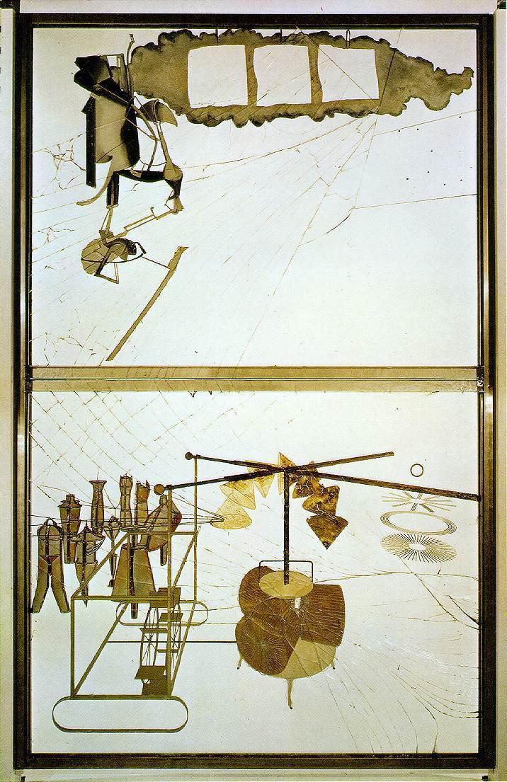 Марсель Дюшан. Невеста, раздетая своими холостяками, одна в двух лицах (Большое стекло), 1923