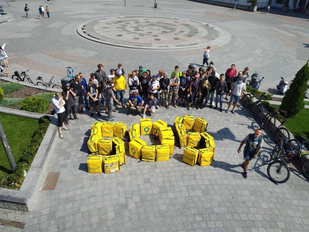 Коллективный протест в компании Glovo, 2019. Фото: Сергей Мовчан / Political Critique (Украина)