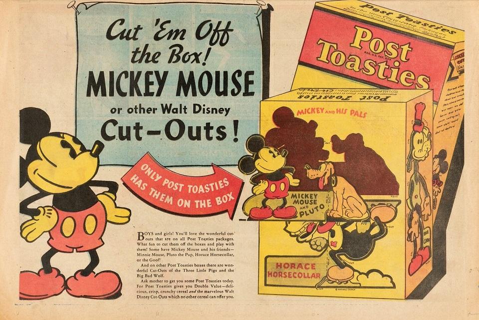 """Перевод: """"Вырежи их из коробки! Вырезки с Микки Маусом и другими персонажами Уолта Диснея!"""" Ниже: """"Они есть только на кор"""