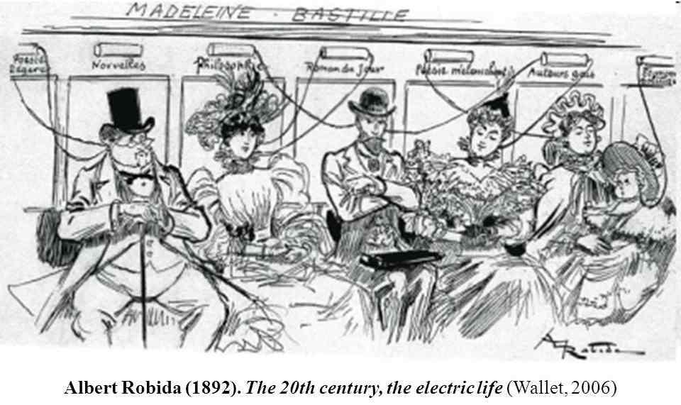 Рисунок Альбера Робида. Особенно примечателен мужчина, слушающий с драматически серьезным лицом одновременно два источник