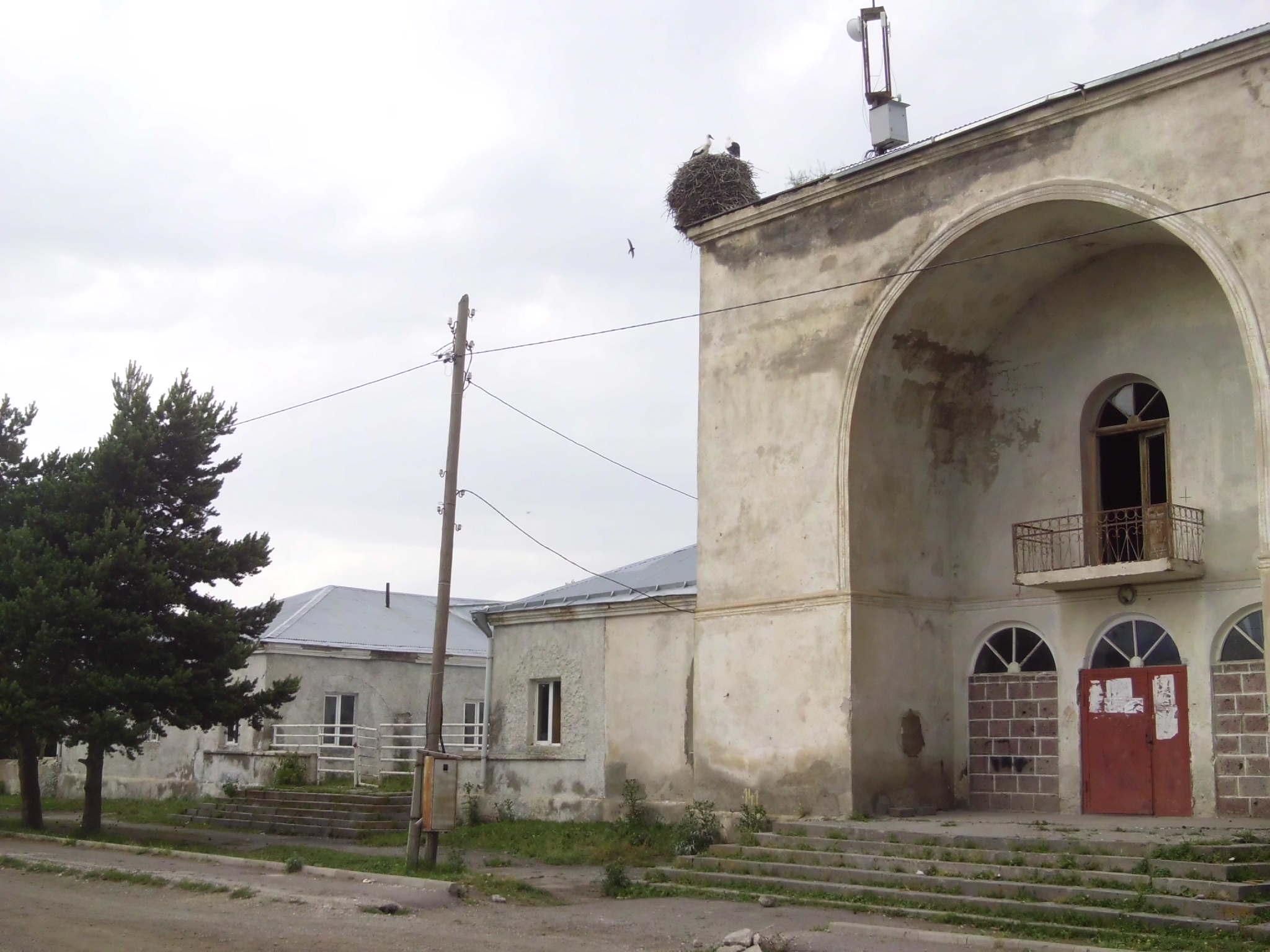 Здание клуба в Гореловке. Аисты.