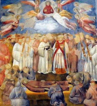 "<b>Джотто</b>. Облако с ""ликом Дьявола"" над головами кардиналов - в центре композиции. Согласно ""теории облака"" <b><a>Юб"