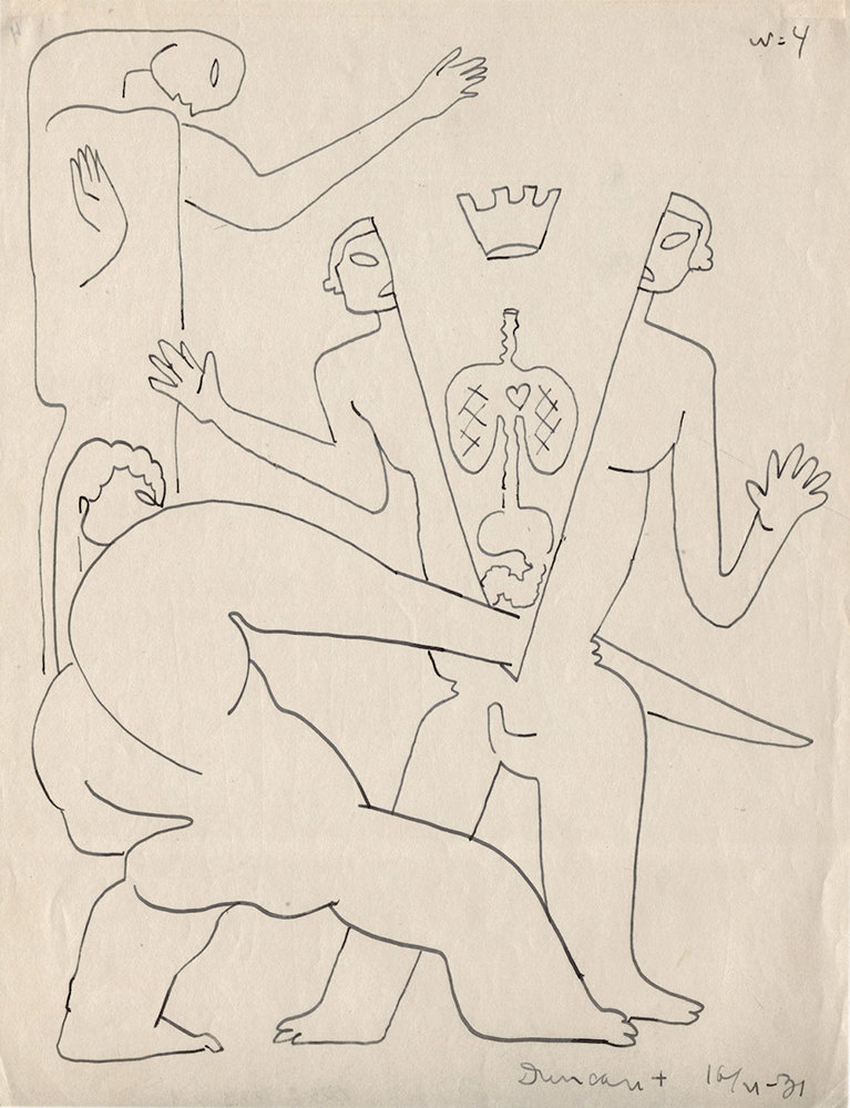 """fig.6: Drawing by Sergei Eisenstein from the series """"The Assassination of King Duncan"""" (1931)"""
