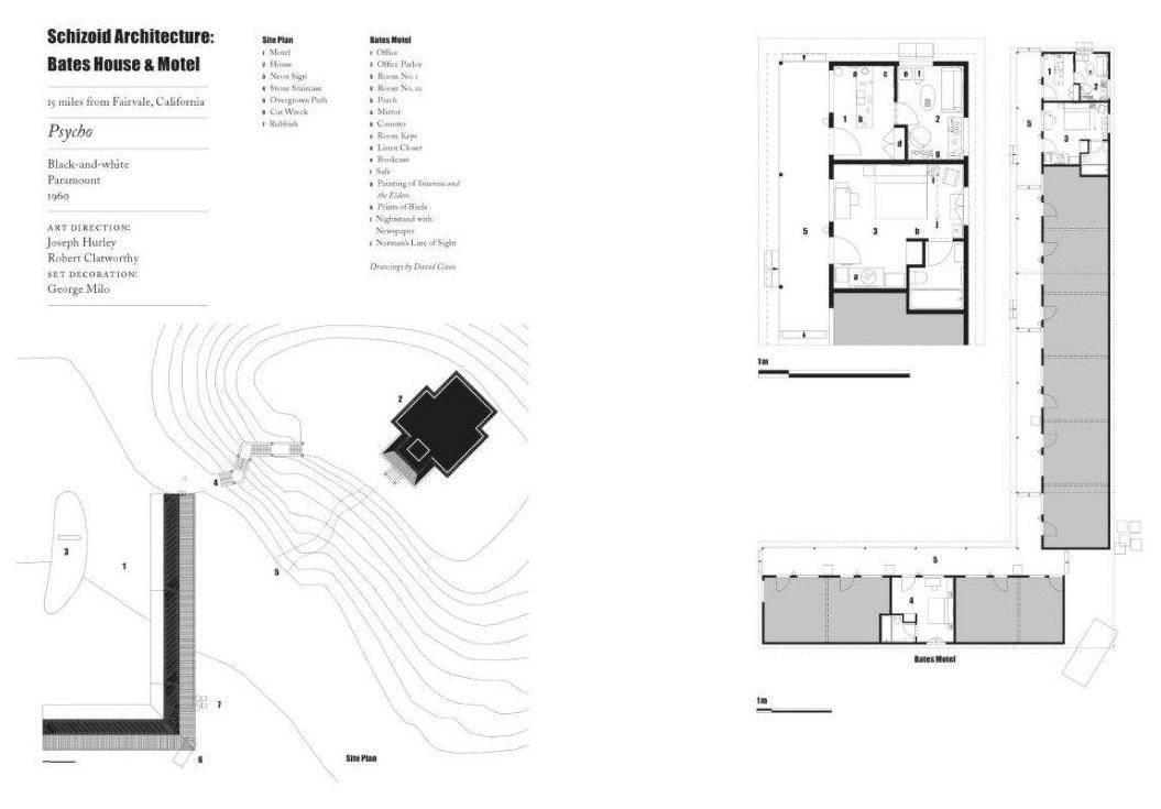 План территории и мотель Бейтса. Разворот из книги Стивена Джейкобса «Неправильный дом. Архитектура Альфреда Хичкока»