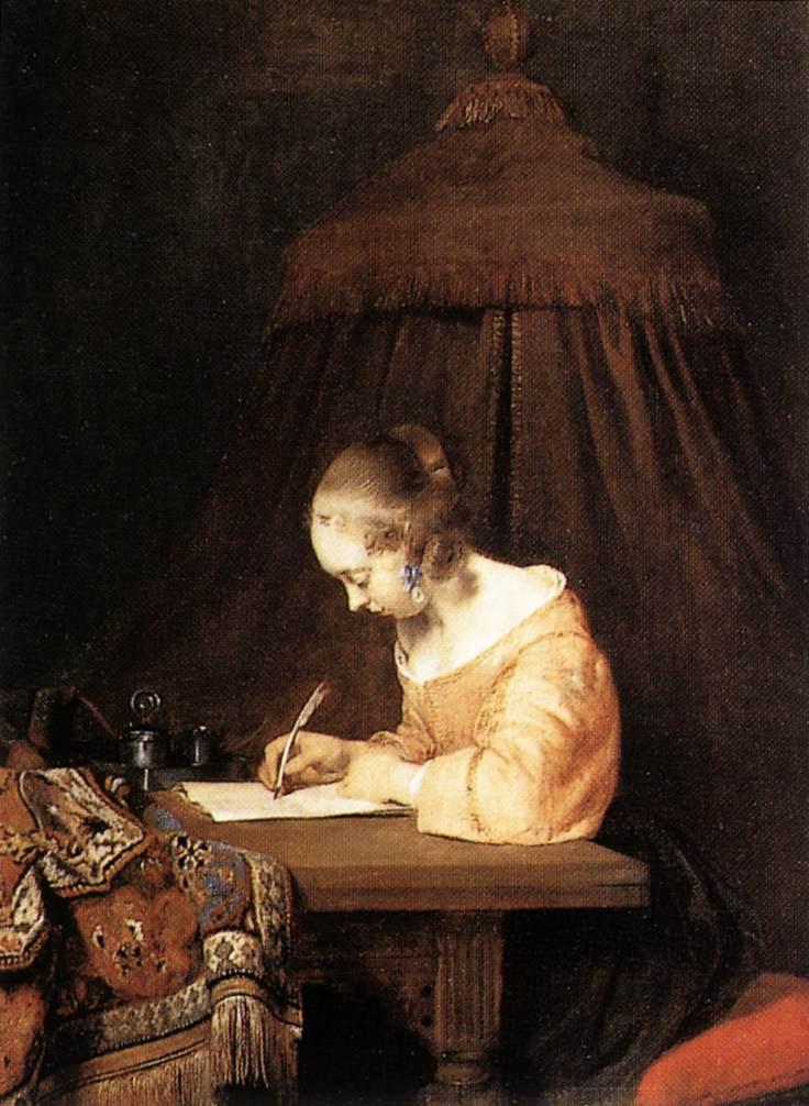 Терборх, Герард Девушка, пишущая письмо (вторая треть XVII века).Дерево, масло. 39х30 см. Маурицхейс, Гаага