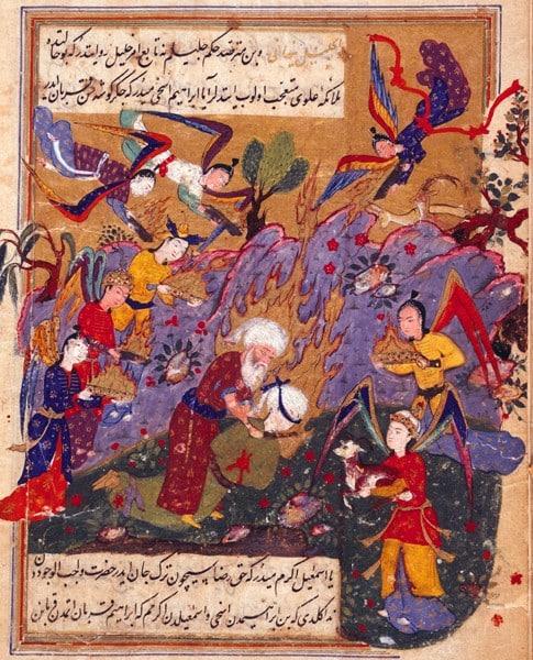 Оттоманская виньеткаعيد الأضحى ('Īd al-Adḥá): Джебраил останавливает Ибрагима.