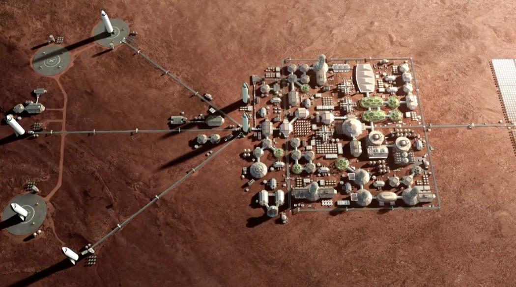 Впечатление художника от города на Марсе, который SpaceX хочет создать с помощью своей транспортной системы Starship. Ист