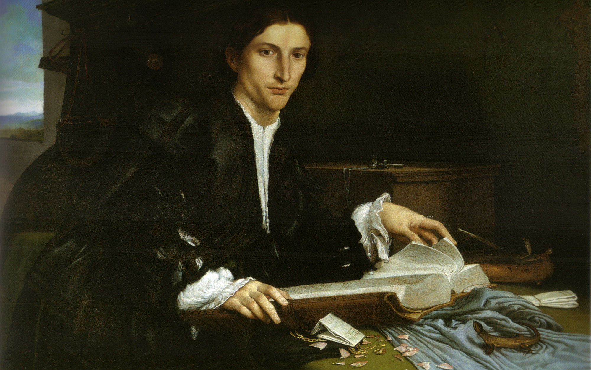 Portrait of a Gentleman in his Study, Lorenzo Lotto