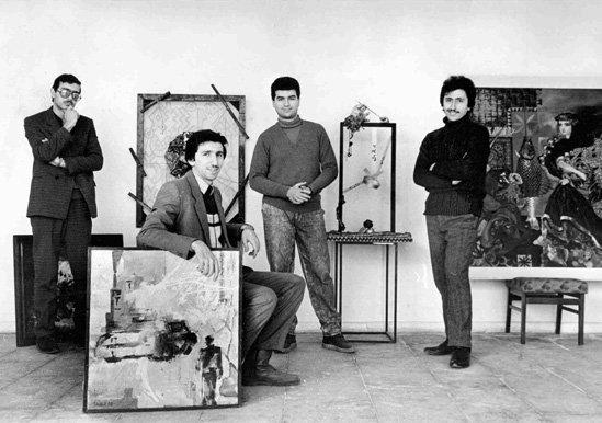"""Группа """"Тасдиг"""". """"Черная выставка"""" 1990 г. Баку (Слева направо: Эльмар Амрах, Самир Гафаров, Амирбек Нариманбеков, Теймур"""