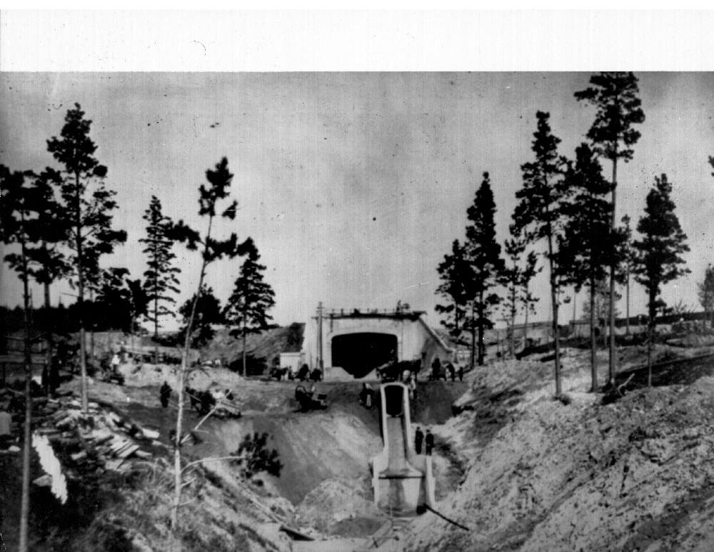 Строительство тоннеля, 1913 год, Новосибирск. Инженеры: С.М. Богашов, В.И. Петков, Б.П. Храповицкий