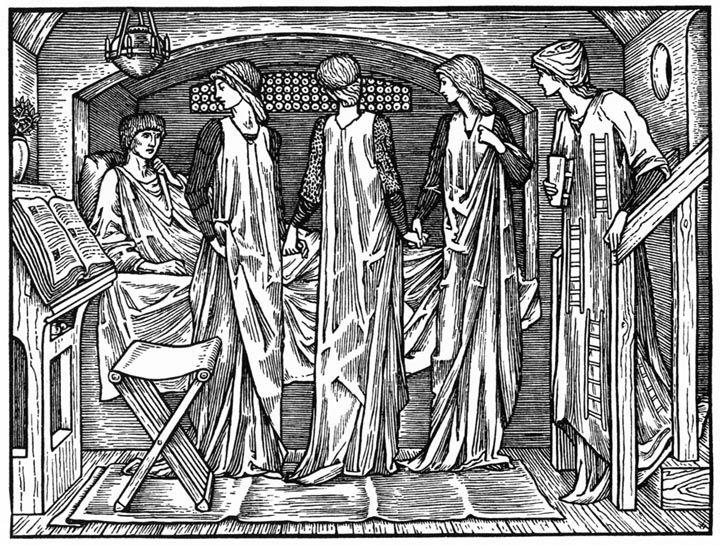 Философия приходит в камеру к Боэцию. Эдвард Берн-Джонс. Иллюстрация к «Келмскоттскому Чосеру». 1896 год