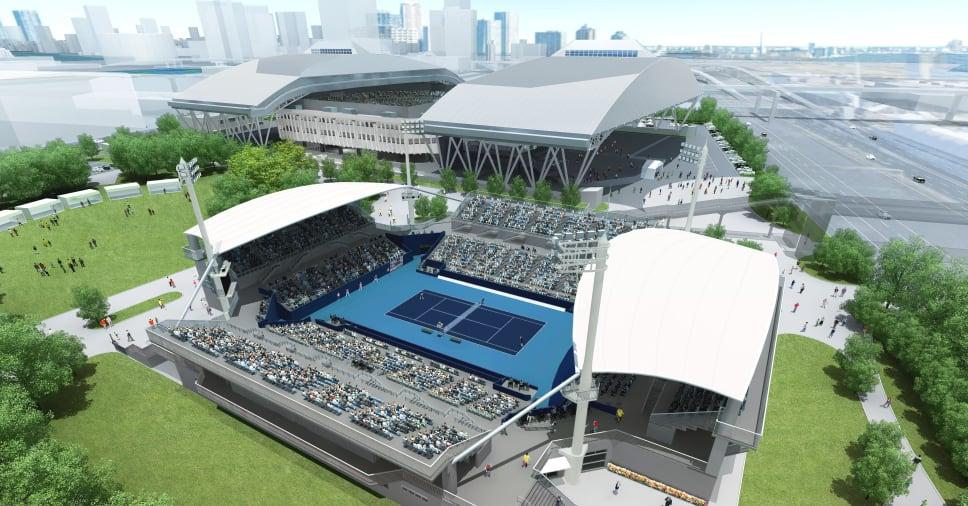 Теннисный парк Ариаке. Раздвижная крыша прилагается