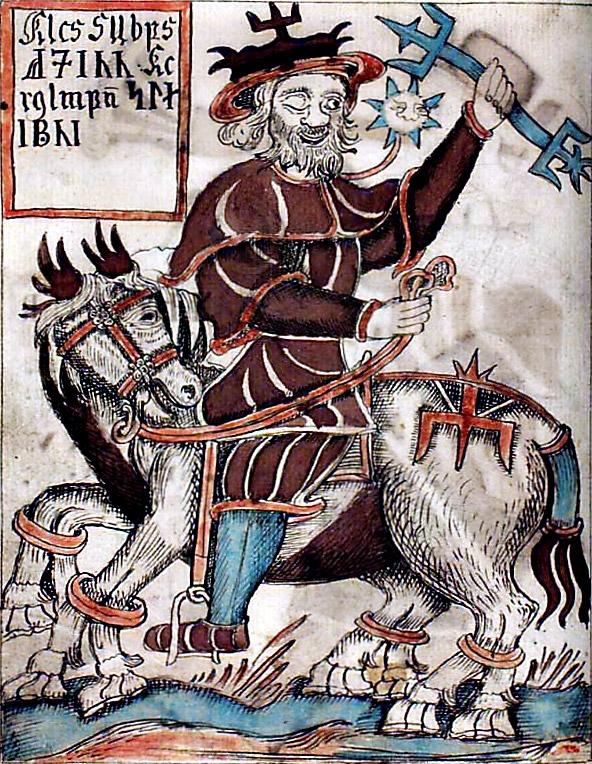 Один верхом на Слейпнире. Миниатюра из исландской рукописи XVII в.