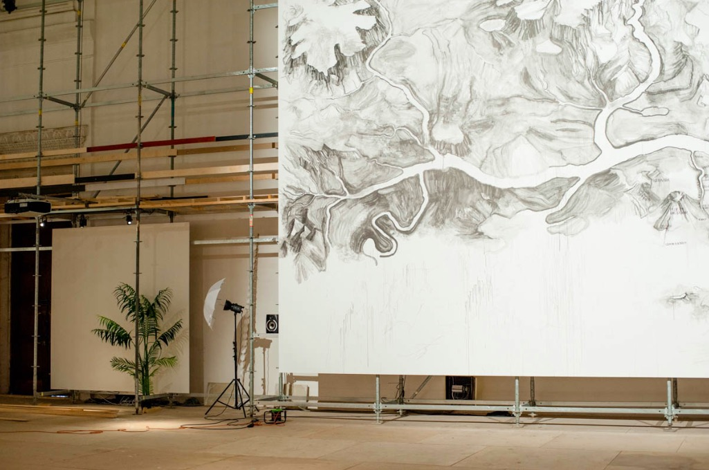 We begin our tour at the huge mural depicting a map of Eurasia made by Qui Zhije in 10 days.