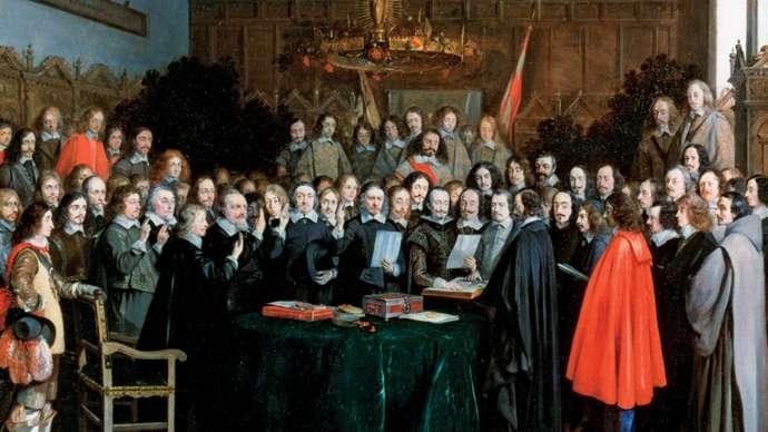 Терборх, Герард Принятие присяги при ратификации Мюнстерского договора (1648).Медь, масло. Национальная галерея, Лондон