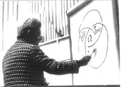 Жак Лакан излагает свою теорию 1- желания, как композиции (область в центре, на пересечении трех кругов), 2- символическо