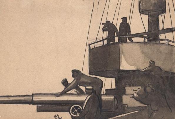 Эскиз декорации «Орудия к бою» из альбома Владимира Егорова к фильму «Мы из Кронштадта», 1936 г. Из коллекции Музея кино