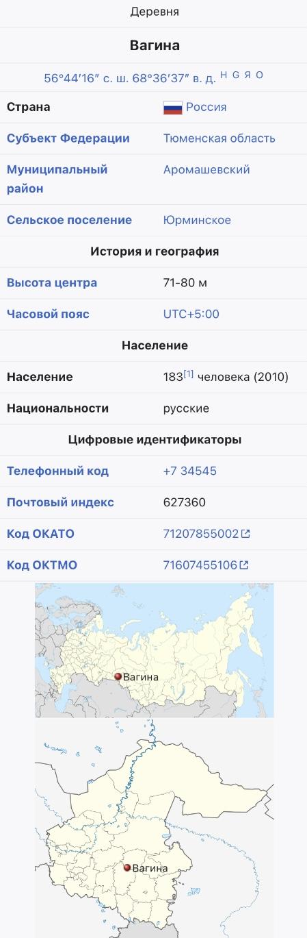 """Данное изображение - это скриншот карты из статьи """"Вагина (деревня)"""". верхней части изображения перечислены географическ"""