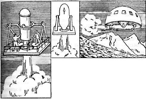 Набросок аппарата Кибальчича (воспроизведено в «Занимательная физика» Я. Перельмана)