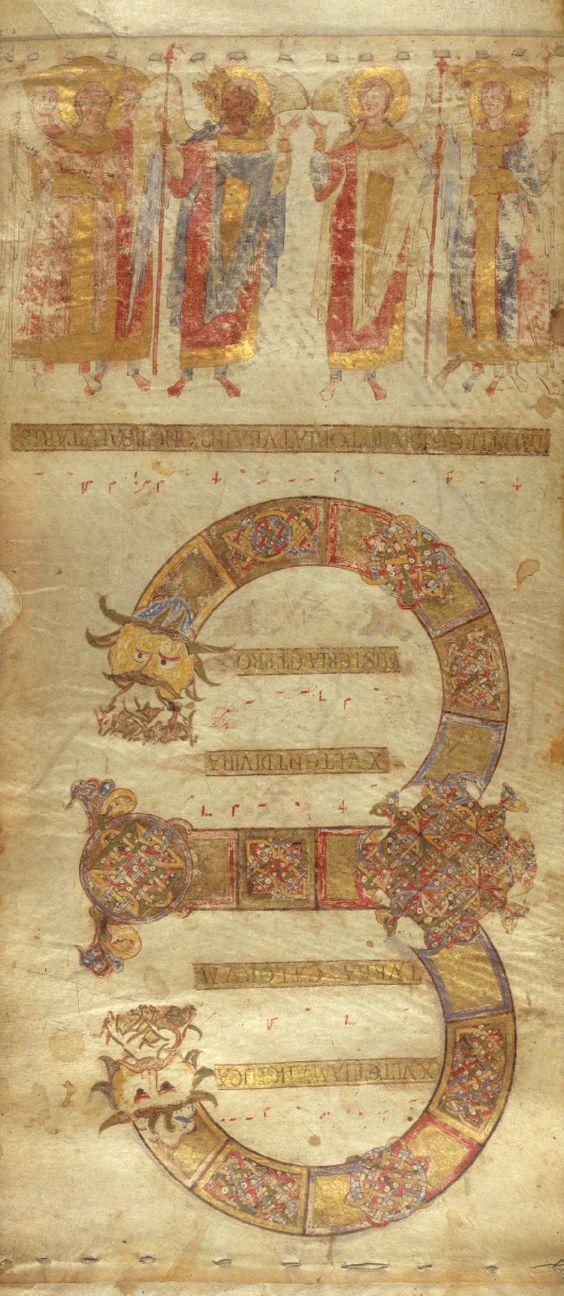 Инициал E(xultet) открывающий текст, означает начало молитвы на освящение пасхальной свечи.