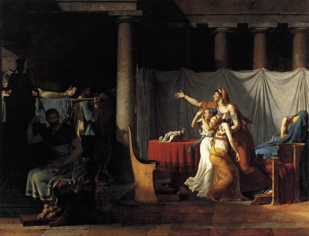 Давид, Жак Луи Ликторы приносят Бруту тела сыновей (1789). Холст, масло.323х422 см. Лувр