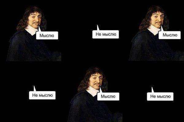 Показательный мем, иллюстрирующий диспозицию Декарта