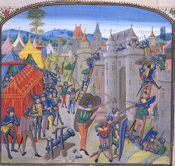 Французские войска осаждают Дюрас в 1377 году во время Столетней войны. Иллюстрация к «Хроникам» Жана Фруассара