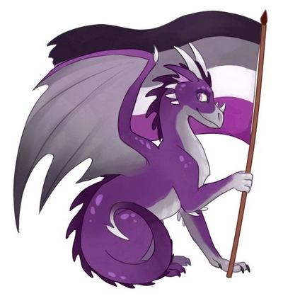 Асексуальный дракон с тематическим флагом