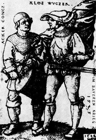 Знаменосец и барабанщик в годы Крестьянской войны