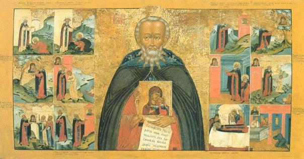 Икона преподобного Авраамия Галичского с житием. XVIII век