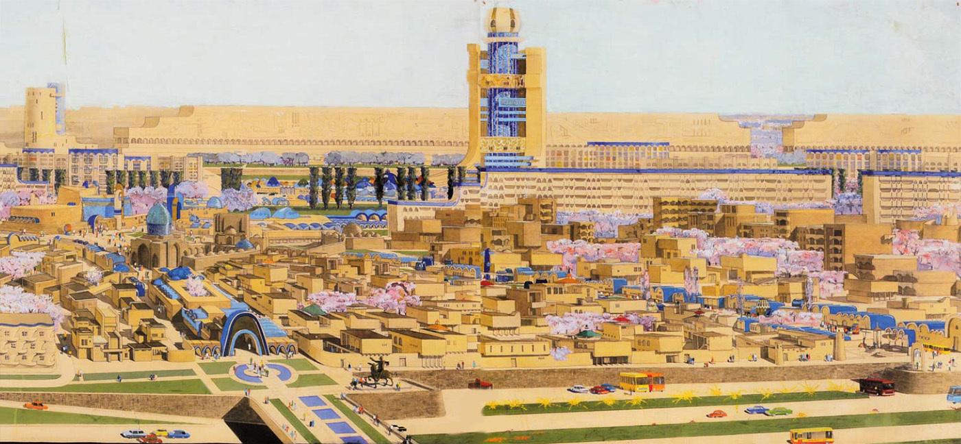 Проект микрорайона Калькауз, Ташкент (1974-1978). Архитекторы: Андрей Косинский и Геннадий Коробовцев.
