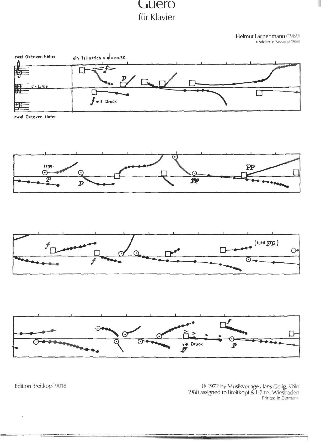 Фрагмент партитуры фортепианной пьесы Guero Хельмута Лахенмана