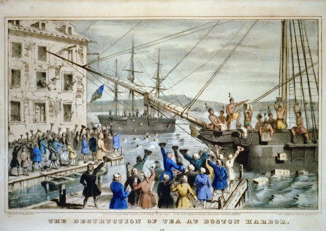 «Уничтожение чая в Бостонской гавани». Литография 1846 года.