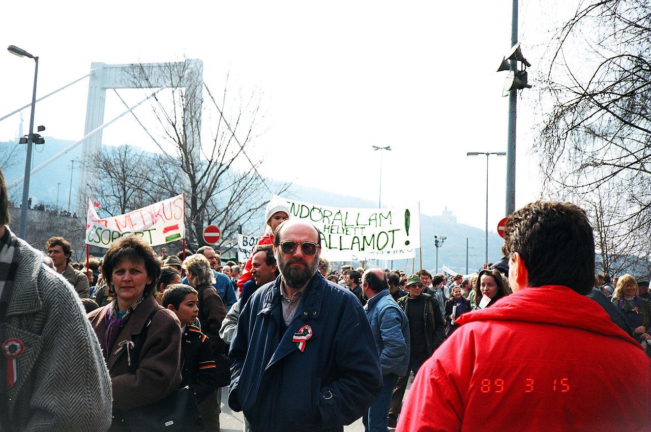 Митинг оппозиции. Венгрия, март 1989