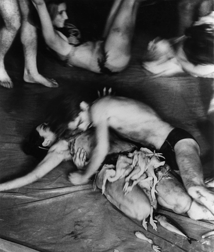 Figure 3: Carolee Schneemann, Meat Joy, Group performance at Festival of Free Expression in Paris.Raw fish, chickens, sau
