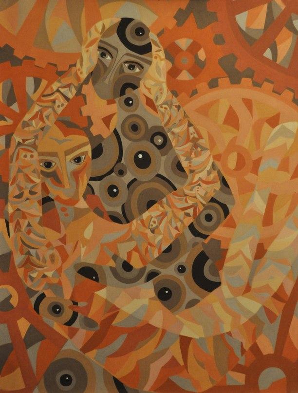 Юля Баталёва, «Двое». Пастель, бумага, 80х60 см.