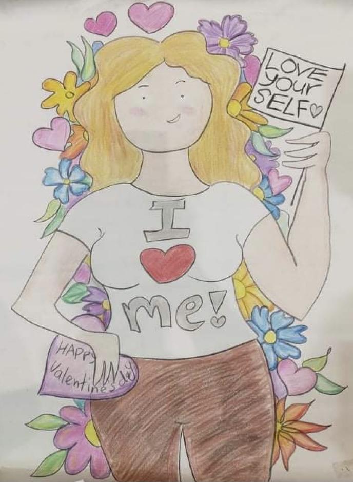 На цветной картине изображена фигура девушки* до её колен. У нее белая кожа желтые волнистые волоса ниже плеч. Она дерзко