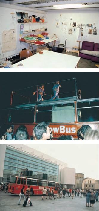 Воркшоп и Show Bus во время кампании против саммита Всемирного банка, Барселона, июнь 2001 г.