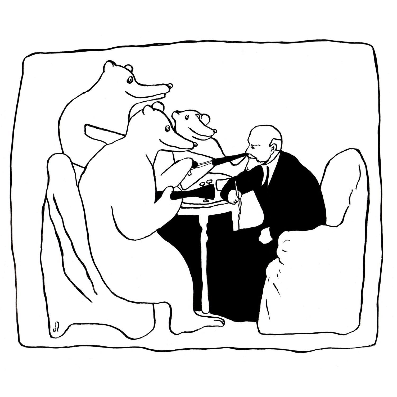 Олег Попов. Ленин и медведи (бумага, тушь),январь, 2019 г. Фото: facebook.com/popoleg/posts/10210804744109476