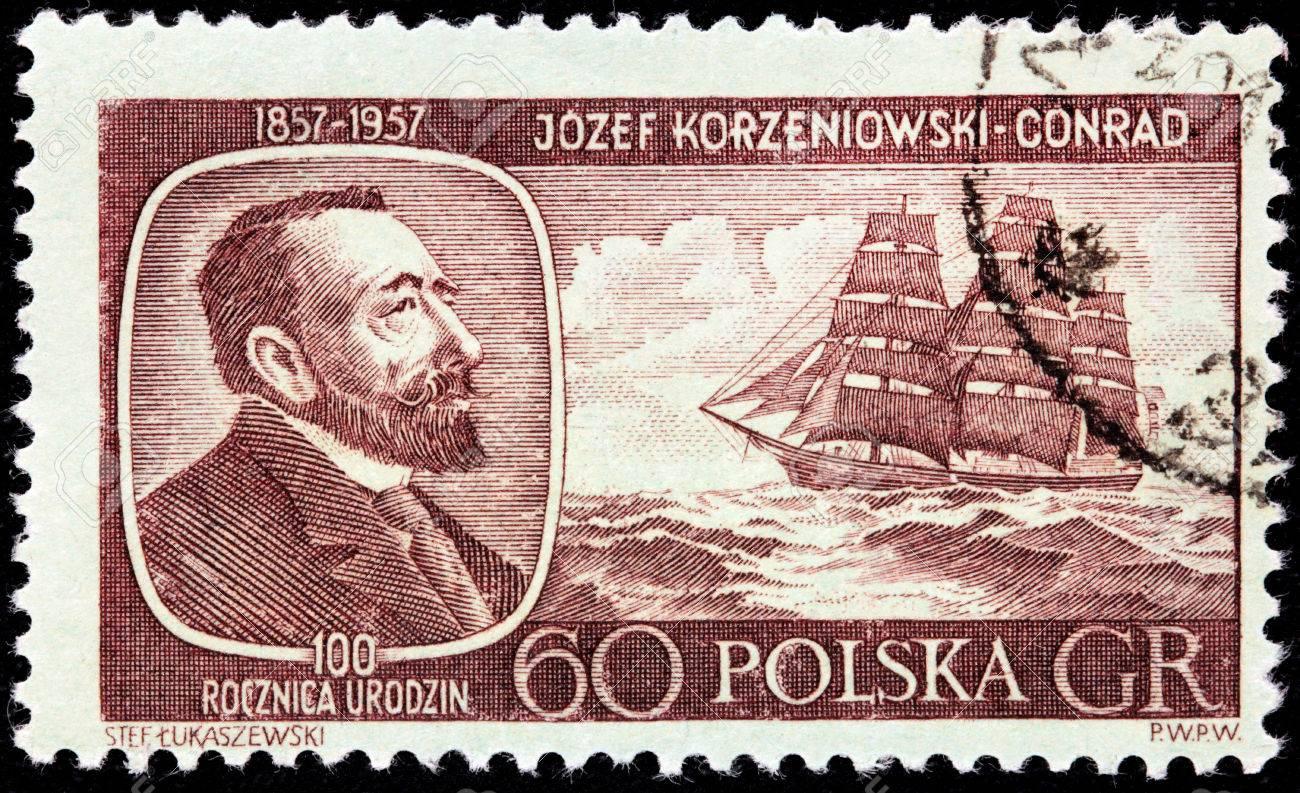Польская почтовая марка с изображением Джозефа Конрада. Ок. 1957