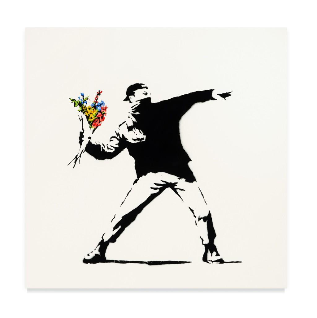 Бэнкси «Любовь витает в воздухе» (Love is in the Air) проданная за $12,9 млн на аукционе Sotheby's за криптовалюту.