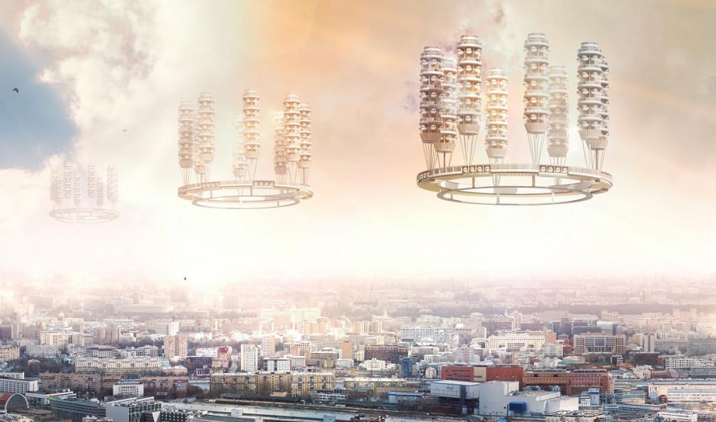 Летающие ЖК Крутикова, современная визуализация © РБК Недвижимость, предоставлено музеем «Москва-Сити»