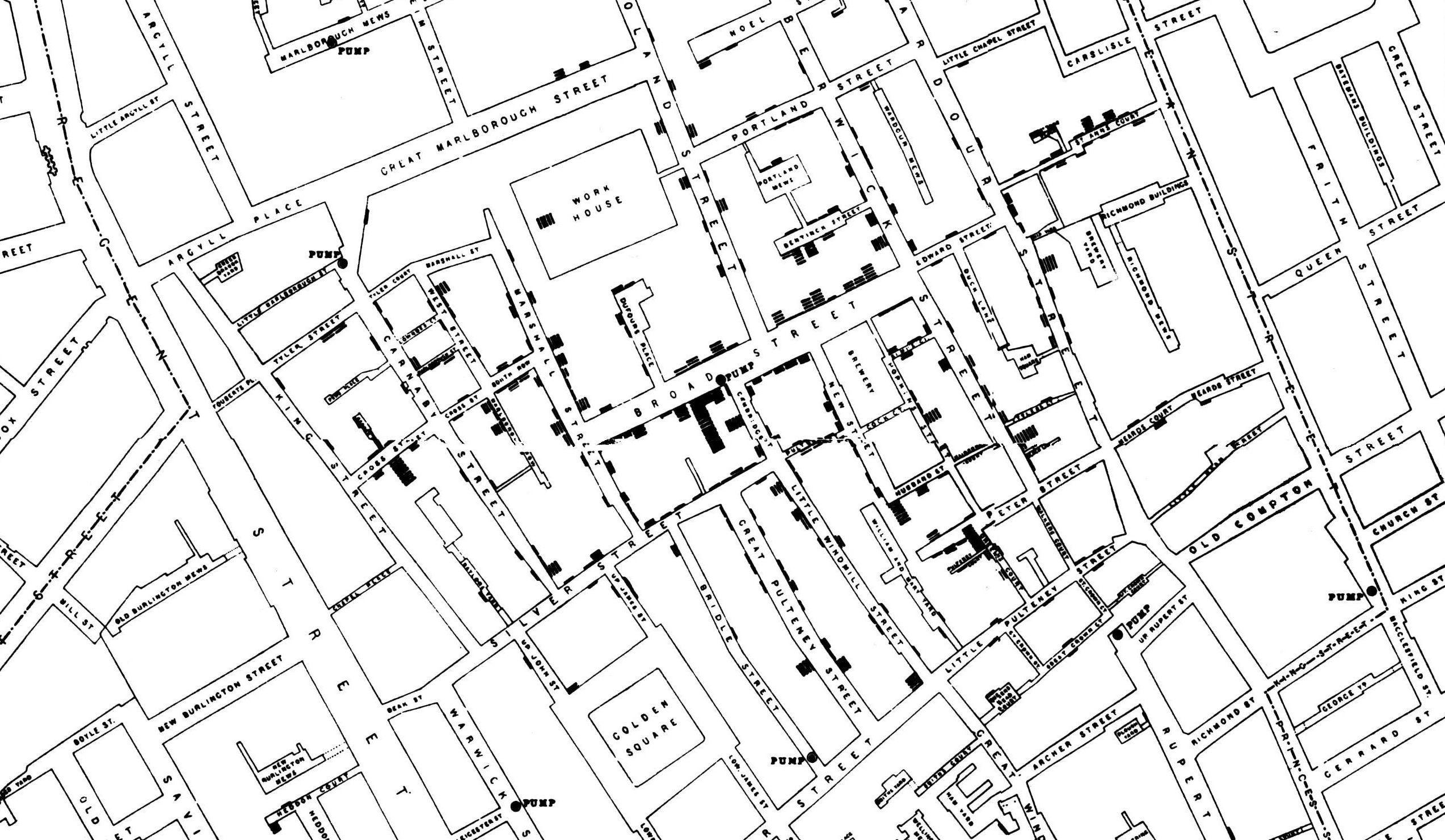 Карта смертей от холеры в Сохо, составленная Джоном Сноу в 1854 году
