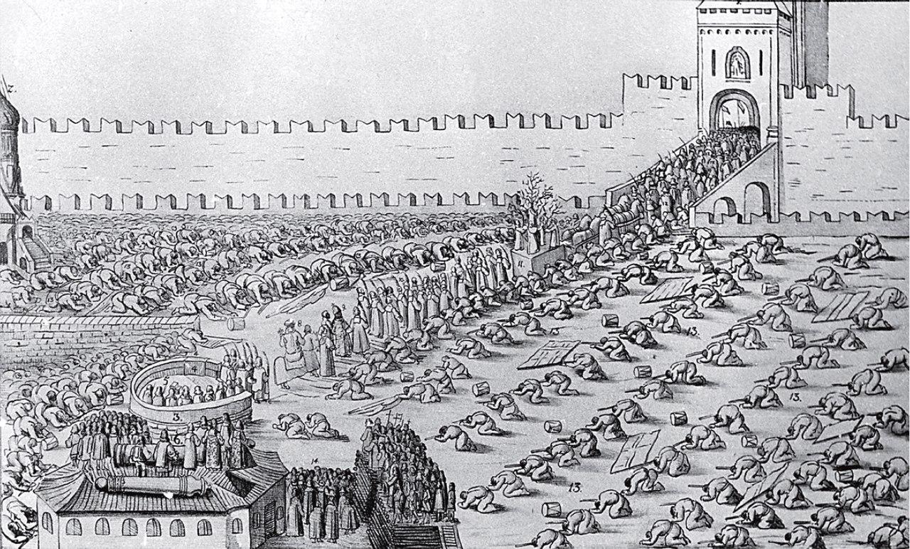 1654, празднование Вербного воскресенья на Красной площади,рисунок из альбома А. Мейерберга